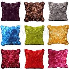 Satin Rose Flower Floral Cushion Cover Throw Pillow Case Sofa Home Decor Square