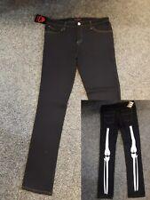 Negro/Huesos De Esqueleto Ajustado Skele///Terror/Punk Goth/Emo Pantalones Vaqueros/W34 L33