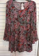 MSK Woman's Medium Orange Multi Colored Long Bell Sleeve Dress NWT