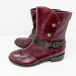 EVERYBODY by bz. MODA Vaglia Black / wine Leather Victorian Booties Size 37