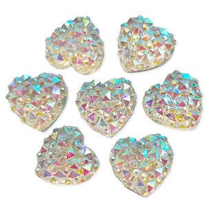 10pcs 12mm AB Heart Flatback Acrylic Crystal Rhinestone Embellishments Gems
