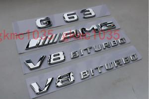 2018 Flat Chrome G63 AMG V8 BITURBO Emblem Badge for Mercedes Benz