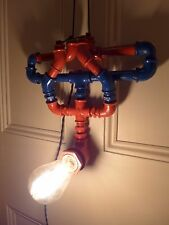 Spiderman design lamp handmade pipe steampunk unique industrial loft lamp hobby