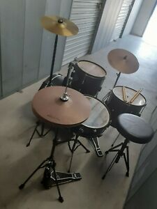 """First Act 4 Drum Set Cymbals Stands Throne Vintage Junior Adult Compact Kit 18"""""""
