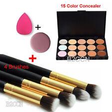 15 Colores Contorno Maquillaje Corrector Paleta +Puff De Cara+Esponja + 4x