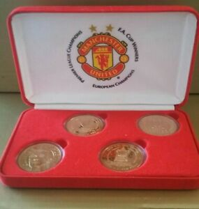 Manchester United 1998 - 1999 Treble Set Of 4 Gold Plated Coins FA Cup Rare Case