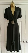 Ladies Black Jewelled Flared Dress Size 18 By Joanna Hope