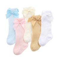 Baby Girl Knee High Socks Bow Cotton Long Stocking Kids Cute Sock 0-3 Years ~