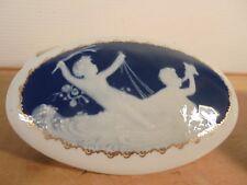THARAUD Limoges Porcelaine Vintage 50 Rare Bonbonnière Putti Camée Bleu 3/3