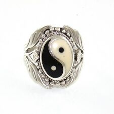 Vintage Sterling Silver Black White Onyx Ying Yang Estate Ring Size 7.75 VK