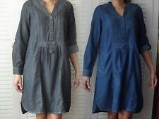NEW WOMAN'S LADIES SMART CASUAL100%COTTON BLUE BLACK MIDWEIGHT SHIRT DRESS TUNIC
