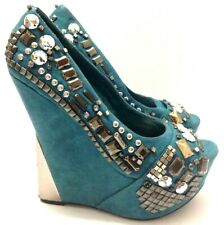 Platform Wedge Heel Studded Shoes Womens Size 7.5 Wild Pair GIA Sexy Goth
