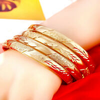 18k Yellow Gold Opening Bracelet Bangle Womens Elegant Design + GiftPkg D415-6B