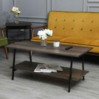 Coffee Table 2-Tier Cocktail Table w/ Storage Shelf Wood Living Room Furniture