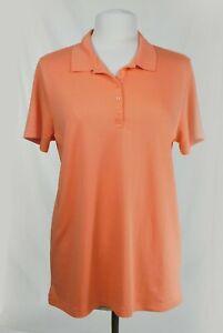 EUC Lands End Orange Collared Polo Shirt Women's Short Sleeve Size 14-16