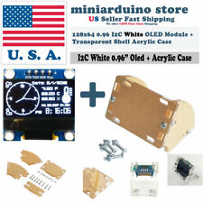 """0.96"""" I2C IIC 128X64 OLED LCD LED White Color SSD1306 + Transparent Case Arduino"""