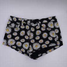 RUE 21 JEANS Women's sz 5/6 Black Floral Button Mini Shorts Yellow & White Daisy