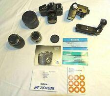 Canon F1 Film Camera, lens and accessories