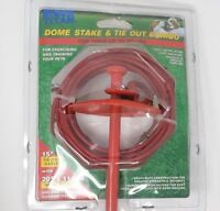 """20"""" Heavy Duty Dome Dog Stake w/ 15' Tie Out Steel Cable-Red-Dogs to 80 lb - NEW"""