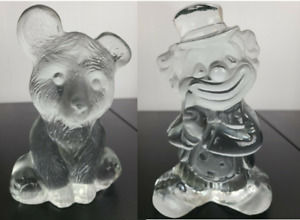 Vintage Viking Crystal Clown and Teddy Bear Crystal Glass Figurines  Made USA