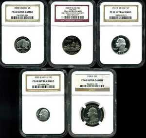 Mixed Lot of 5 Proof Coins PF69UCAM NGC 1863980-014