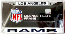 Los Angeles Rams New Design LASER FRAME Chrome Metal License Plate Tag Cover