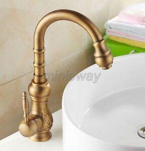 Antique Brass Single Handle Kitchen Faucet Swivel Spout Sink Mixer Tap man004