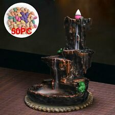 Retro Mountain Waterfall Smoke Backflow Incense Burner Holder 50 Cones Gift