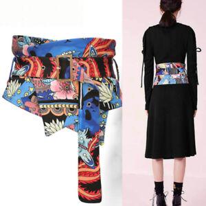 Women Kimono Obi Belts Waistband Sash Cummerbund Japanese Floral Abstract Art
