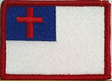Christian Flag Military Patch With VELCRO® Brand Fastener Red Border #10