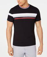 Alfani Mens T-Shirt White Black Size Large L Striped Tee Colorblocked $45 #338