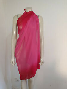 Red Pink Ombre Semi Sheer Sarong Scarf Shawl Craft Fabric Home Decor