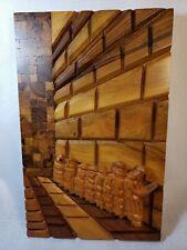 Vintage Wailing Wall Wood Plaque crowd of men praying Jerusalem Israel temple