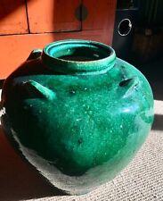 Antique Asian large glazed green Urn pot