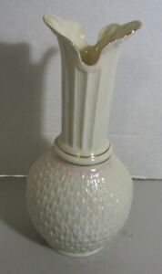 "Belleek Ireland Basket Weave Parian Vase 11"" Gold Accent  Rare Find #182"