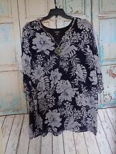 Womans Avenue 22/24 Flowing Blue Floral 3/4 Sleeve Blouse, Comfortable