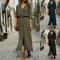 Women Casual Long Sleeve Button Loose Down Long Maxi Party Shirt Dress Plus Size