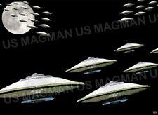 UFO ALIEN INVASION Fridge Magnet Aprox 2.5 X 3.5. Laminate Protected. USA