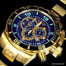 Invicta Corduba Sea Base Chronograph 52mm 18kt Gold Plated Watch Black New