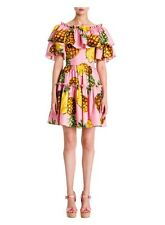 NEW Pineapple Print Ruffle Dress SZ S Fits Like XS