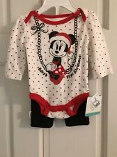 NWT Minnie Mouse Disney Baby Girl 0/3months 2 Piece Set First Christmas