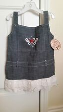 NEW All Around Kid by Wrangler Toddler Girl's Denim Western Dress White Lace 2T