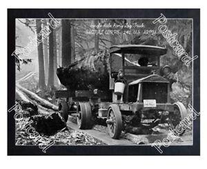 Historic Single Axle Army Log Truck Postcard 1