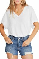 Free People Womens Top Solid White Size Small S Knit Cutout V Neck $58- 097
