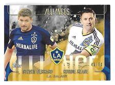 STEVEN GERRARD/ROBBIE KEANE 2015 Topps Apex MLS Alliances Gold /50 LA Galaxy