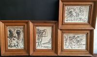 David Hendler Famous Jewish Artist 4 Aquarelle Paintings Lot Signed And Framed
