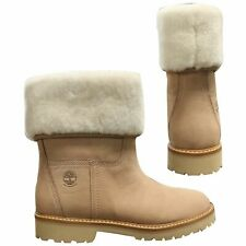 Timberland Chamonix Valley Shearling Womens Slip On Boots Beige A1SAL