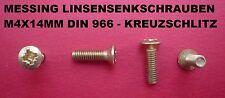 20 X MESSING SCHRAUBEN - LINSENSENKSCHRAUBEN M4 X 14 MM DIN 966 MIT KREUZSCHLITZ