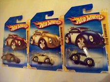 2010 Hot Wheels Mainline FE Volkswagon Beetle Set of 3 Cars as Pictured
