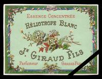 Original Antique French Perfume label: J. Giraud Fils, Heliotrope Blanc
